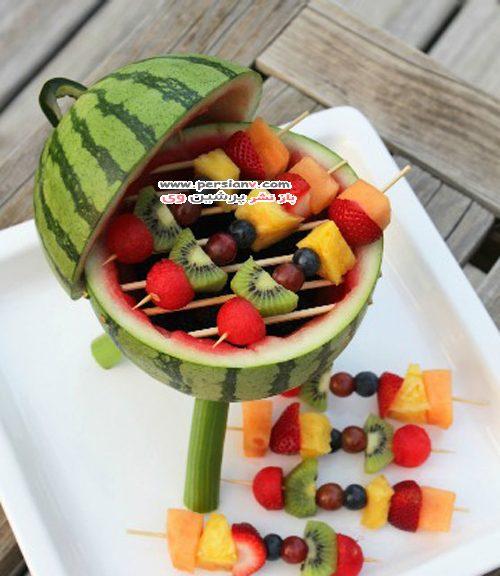اجاق میوه ای روش ابتکاری تزئین هندوانه و میوه های شب یلدا +عکس