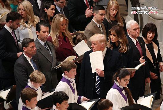 دونالد ترامپ و همسر و فرزندانش در مراسم دعای ملی در کلیسای جامع +عکس