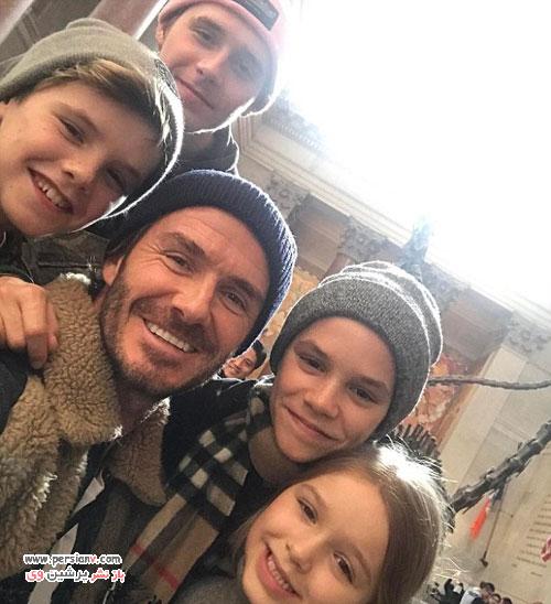 دیوید بکهام و همسرش ویکتوریا و چهار فرزندشان در سفر کانادا +عکس