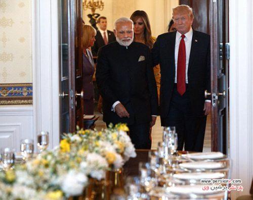 تیپ دیدنی ملانیا ترامپ در دیدار با نخست وزیر هند نارندرا مودی