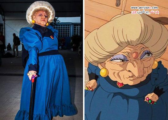زنی در لباس شخصیت های کارتونی