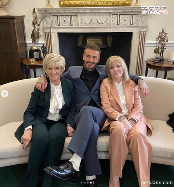 دیوید بکهام و مادر و مادر خانمش