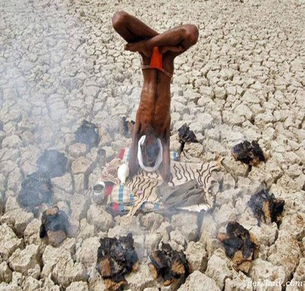 مرتاض هندی در حال ریاضت