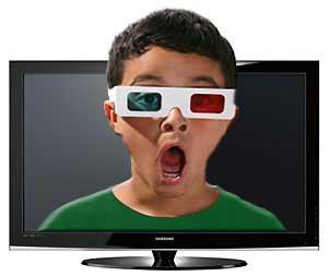 عینک ویژه برای تماشای سهبعدی تصاویر تلویزیون