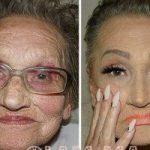 تفاوت چهره عجیب پیرزن ۸۰ ساله قبل و بعد از آرایش! !+ تصاویر