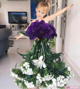 لباس های زیبای یک مادر از جنس میوه و گُل برای دخترش!
