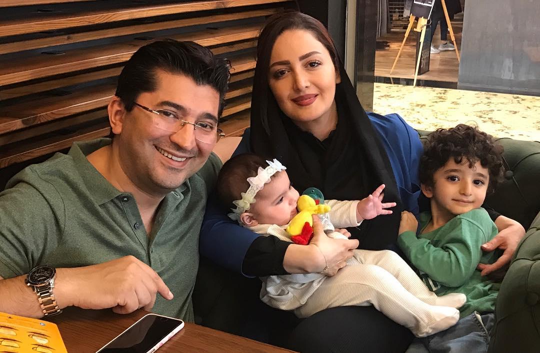 شیلا خداداد در کنار همسر و فرزندانش ساتین و سامیار