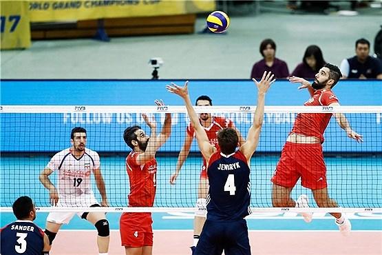 پیروزی والیبال ایران مقابل آمریکا