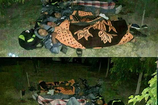 خوابیدن تیم فوتبال در پارک