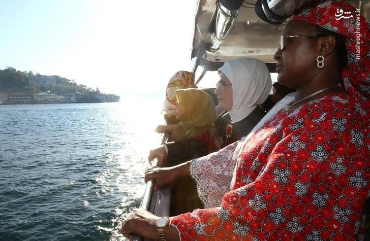 همسر جهانگیری در ضیافت ناهار همسر اردوغان در کشتی!