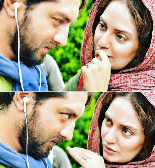 مهناز افشار و بهرام رادان در پشت صحنه فیلم سینمایی پل چوبی!