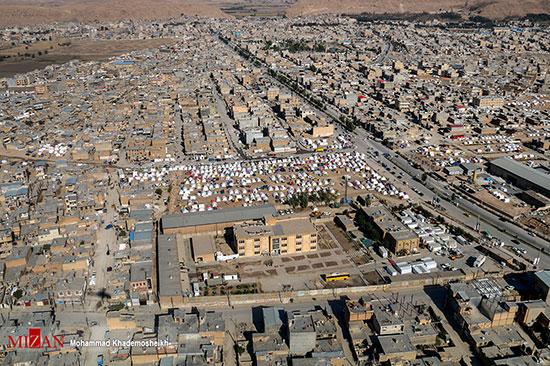 تصاویر هوایی از اسکان موقت زلزله زدگان کرمانشاه