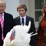 مراسم عفو بوقلمون توسط ترامپ با حضور خانواده اش!