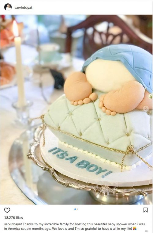 کیک بارداری همسر رضا قوچان نژاد
