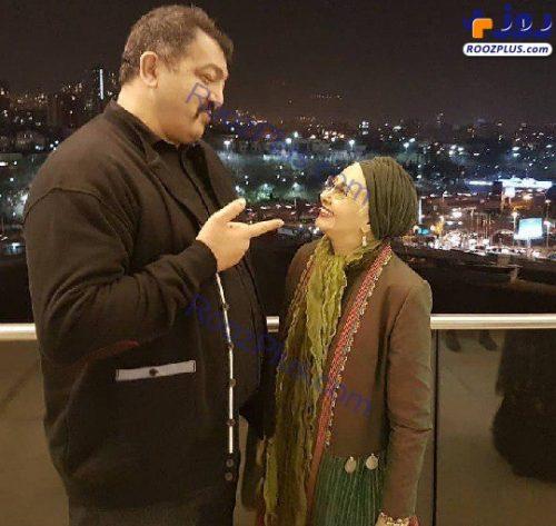 ژست عجیب و غریب کتایون ریاحی در کنار احمد ایراندوست