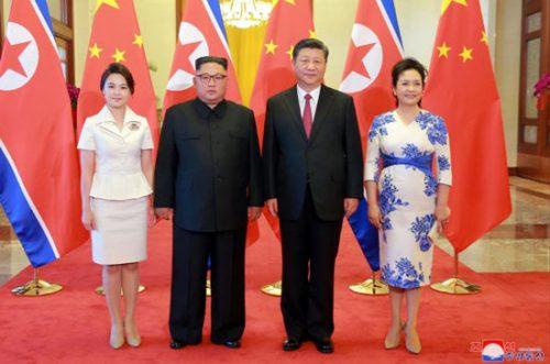حضور رهبر کره شمالی و ری سول جو در پکن چین