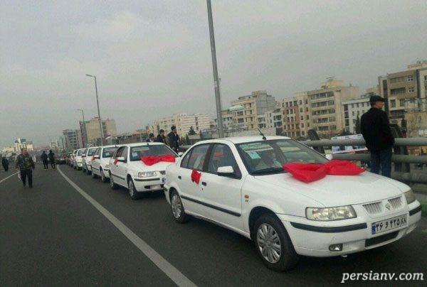 عروس و داماد در راهپیمایی 22 بهمن
