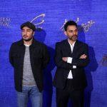 پیمان معادی و نوید محمدزاده در پشت صحنه یک فیلم جدید
