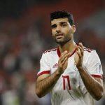 مهدی طارمی فوتبالیست ایرانی در جشن قهرمانی قطری ها