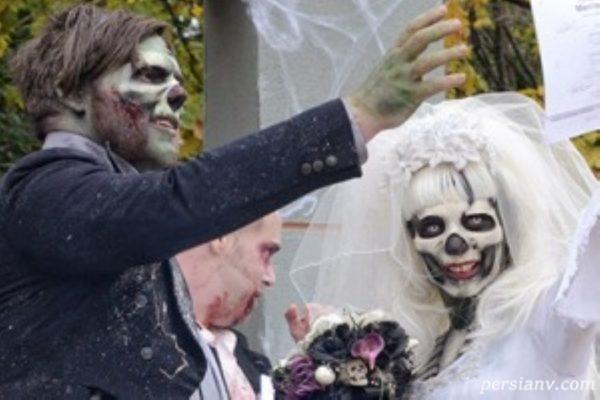 کیک عروسی وحشتناک و گریم عجیب این عروس و داماد!!