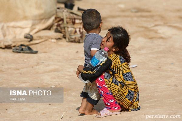 تصاویری تلخ از بچه های سیل زده حمیدیه!!