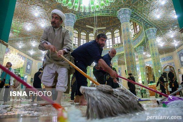 تصاویری از آیین غبارروبی مسجد مقدس جمکران