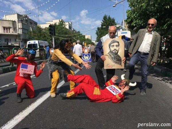تصاویری جالب و دیدنی از حواشی مراسم راهپیمایی روز قدس ۹۸