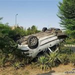 واژگونی خودرو پژو ۲۰۶ و نجات معجزه آسای زن و مرد جوان!!