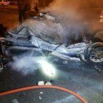 تصادف در اتوبان تهران قم و حریق مرگبار خودروی پژو ۴٠۵!!