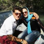 شهربانو منصوریان وهمسرش در کنار فرزند تازه متولد شده شان