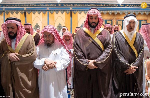 مراسم تشییع جنازه برادر شاه عربستان با حضور ملک و بن سلمان