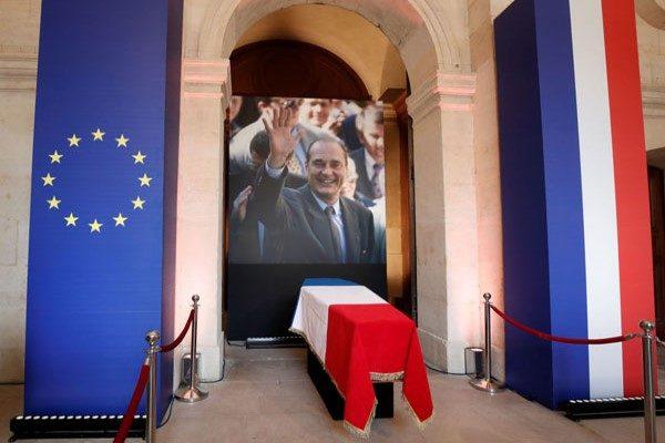 مراسم خاکسپاری ژاک شیراک رئیس جمهور با حضور چهره ها به روایت تصویر