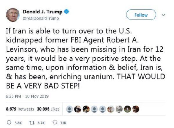 توئیت ترامپ درباره ایران