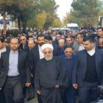 حسن روحانی و حسین فریدون در مراسم تشییع پیکر خواهرشان!