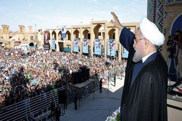 سخنرانی حسن روحانی در یزد و تلاش عدهای برای اخلال در آن!!