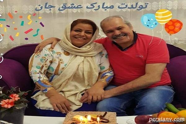 مختار سائقی و همسرش ؛ مختار سائفی در جشن تولد همسرش