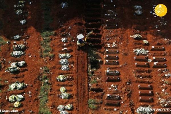 قبرستانی برای جانباختگان کرونا با قبرهای بیپایان