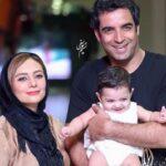 منوچهر هادی و همسرش یکتا ناصر با ست سفید در کنار دخترشان