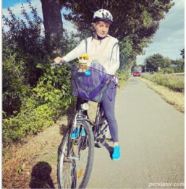 عکس دوچرخه سواری مهناز افشار