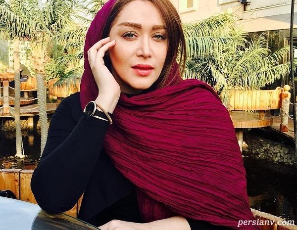 سلفی سارا منجزی پور کنار استخری در شمال تهران