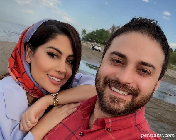 پریا پرتوی فرد همسر بابک جهانبخش سوار بر پاراسل در کیش