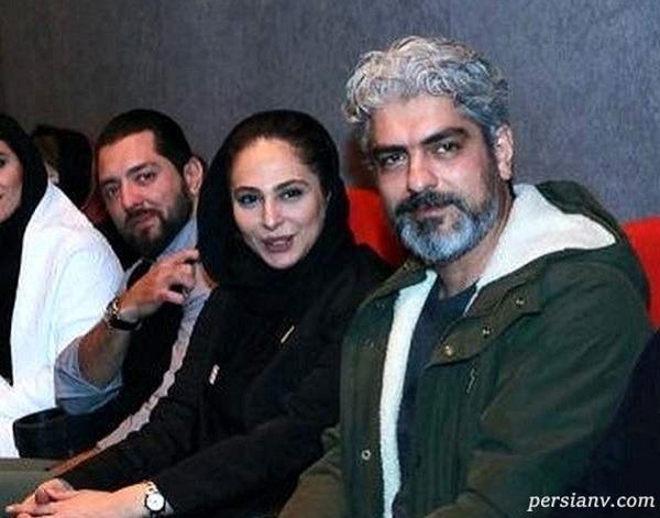 مهدی پاکدل و همسرش رعنا آزادی ور مقابل دوربین عکاسان