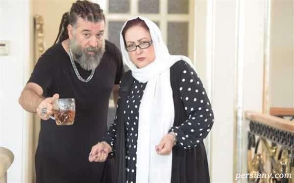 خانم بازیگر در کنار مرحوم انصاریان