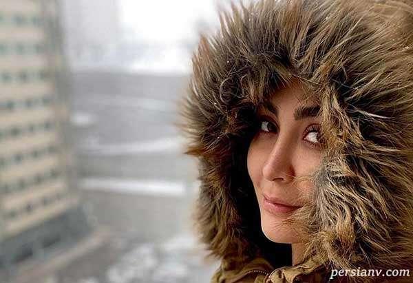 گشت و گذار مریم معصومی به همدان و بارش برف شدید