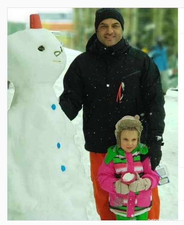 برف بازی سام درخشانی و دخترش برکه