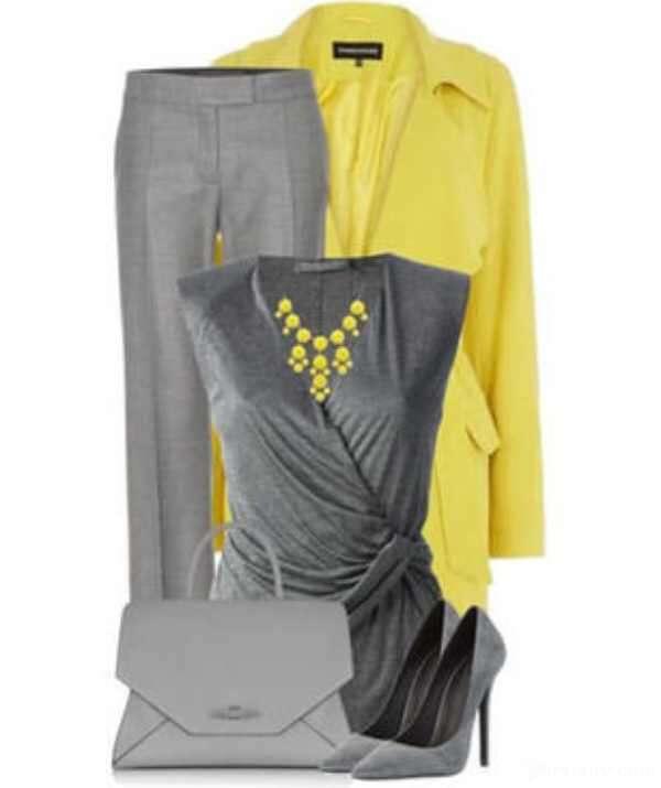 ست لباس زنانه زرد و خاکستری