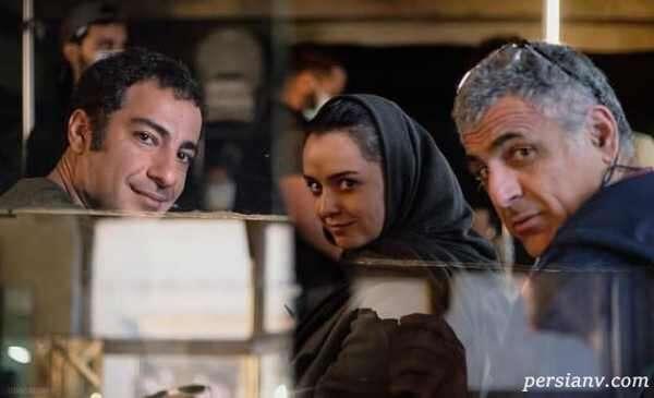 نوید محمدزاده و ترانه علیدوستی در پشت صحنه فیلم تفریق