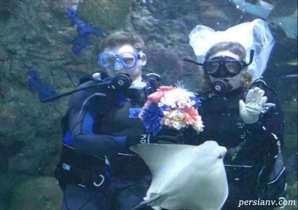 جشن نامزدی زوج رومانتیک در عمق ۱۲ متری زیر اقیانوس
