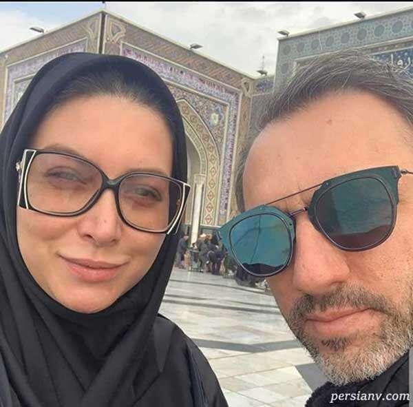 فریبا نادری و همسرش در حرم امام رضا