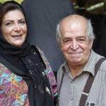 مهوش وقاری در کنار مزار همسرش محسن قاضی مرادی در مراسم چهلم